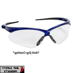 SAFETY GLASS SMOKE ANTI-FOG LENS BLUE FRAME SPORT JACKSON NE