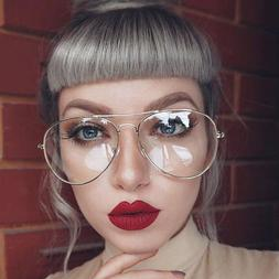 Gold Silver Clear Lens Aviator Glasses Classic Pilot Tear Dr
