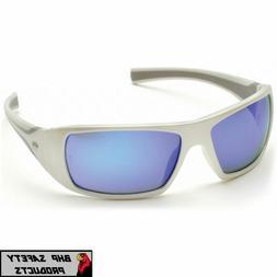 Pyramex Goliath Safety Eyewear, White Frame, Ice Blue Mirror