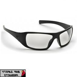 PYRAMEX GOLIATH SAFETY GLASSES CLEAR LENS BLACK FRAME SPORT