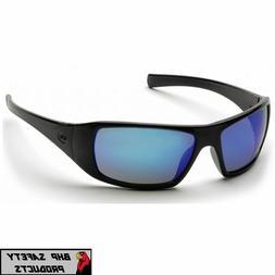 Pyramex Goliath Safety Eyewear, Black Frame, Ice Blue Mirror