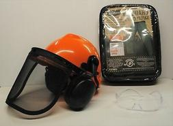 GREEN SAFETY CHAPS, HARD HAT, EAR MUFFS,  GLASSES,  3-Piece