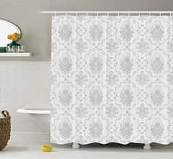Ambesonne Grey Shower Curtain Decor, Classic Victorian Flora