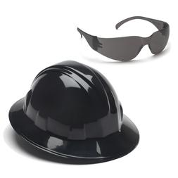 Pyramex Hard Hat Black FULL BRIM & Gray Intruder Safety Glas
