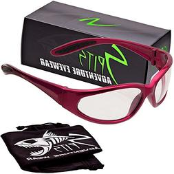 Hercules Safety Glasses - Red Frame - Clear Lenses