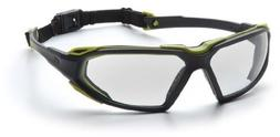Pyramex Highlander Safety Eyewear, Black-Lime Frame/Clear An