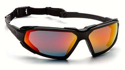 Pyramex Highlander Safety Eyewear, Black Frame/Sky Red Mirro