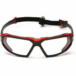 Pyramex Highlander Safety Eyewear, Black-Red Frame/Clear Ant