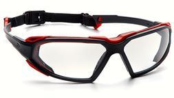 Pyramex Highlander Safety Eyewear, Black-Red Frame/Clear Ant