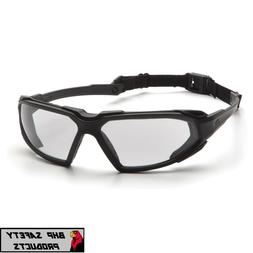 PYRAMEX HIGHLANDER SAFETY GLASSES CLEAR ANTI-FOG LENS W/ BLA