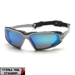 PYRAMEX HIGHLANDER SAFETY GLASSES SKY BLUE MIRROR ANTI-FOG S
