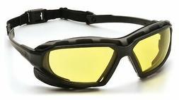 Pyramex Safety Highlander XP Eyewear, Black-Gray Frame/Amber