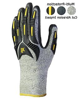 Impact Reducing Safety Gloves, Cut Resistant Shell with Nitr