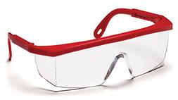 Pyramex Integra Safety Eyewear, Clear Lens With Red Frame