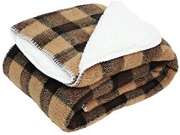 """Jacquard Check Plaid Sherpa Fleece Throw Blanket 50x60"""", Rev"""