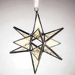 J Devlin Orn 250 Stained Glass Moravian Star Christmas Ornam