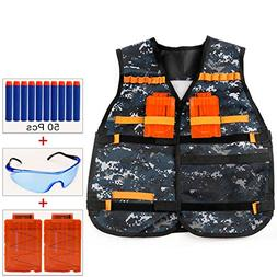 COSORO Kids Camouflage Tactical Vest Jacket Kit for Nerf Toy