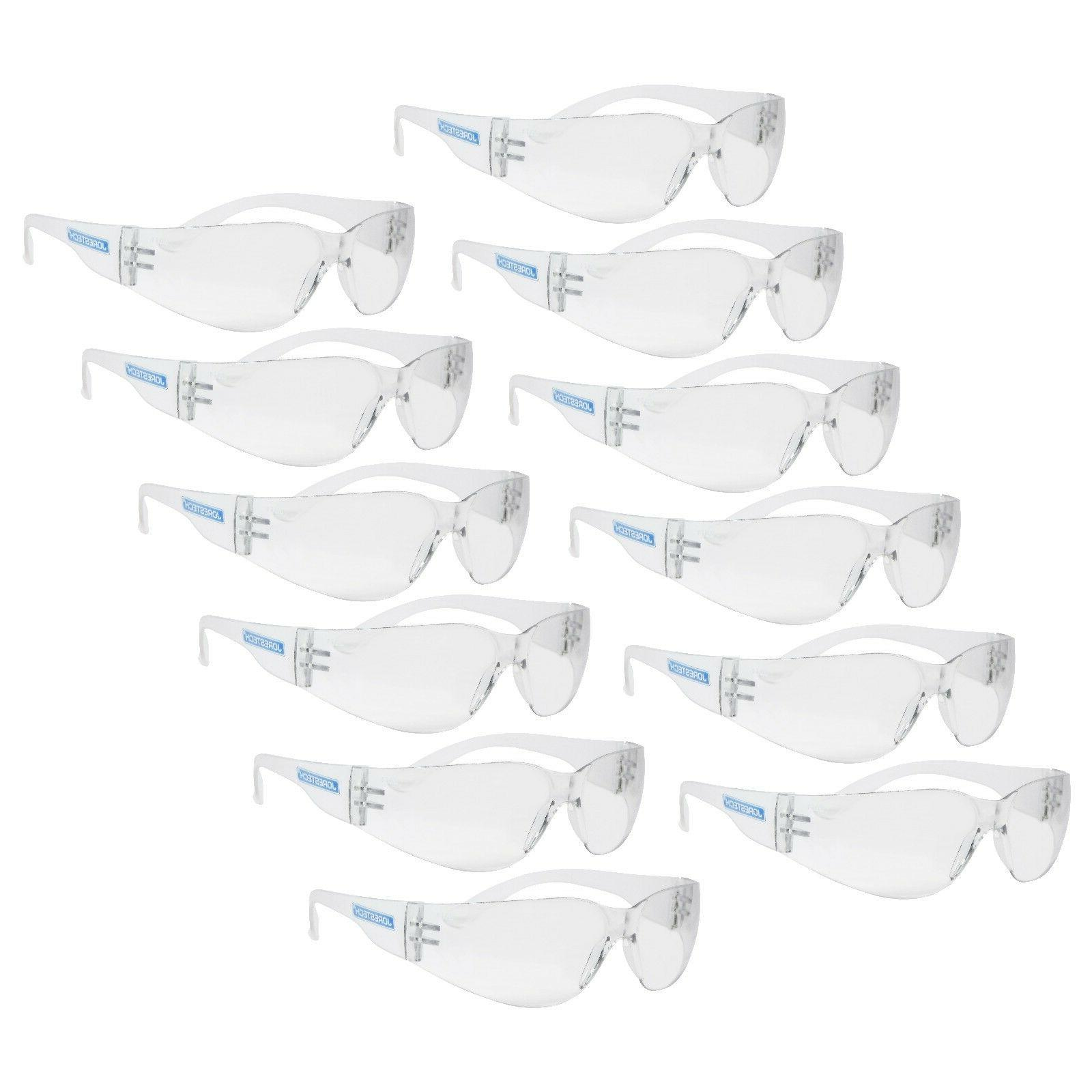 12 PAIR JORESTECH CLEAR UV400 LENS LOT SAFETY GLASSES BULK N