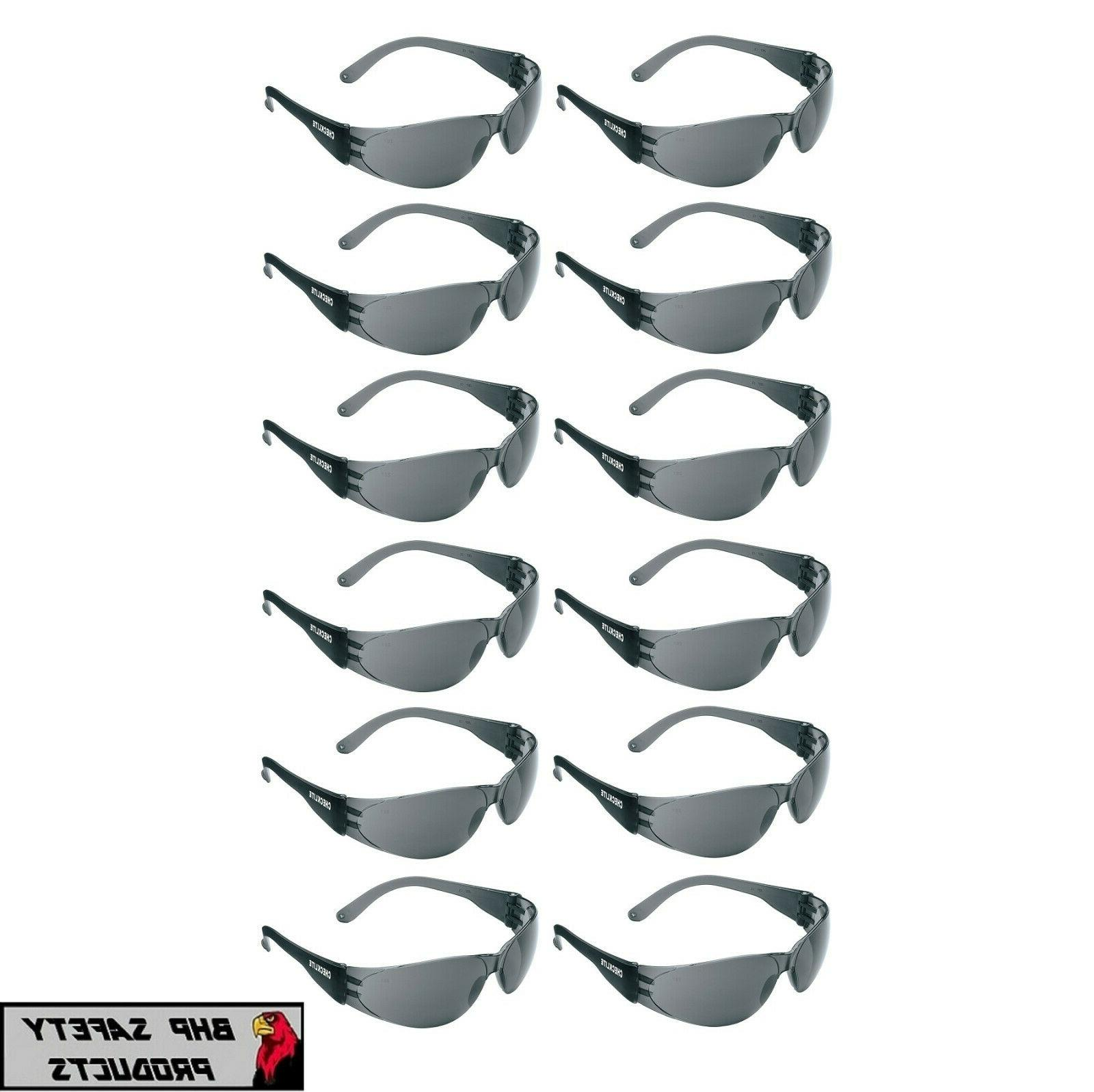 12 pair pack protective safety glasses grey