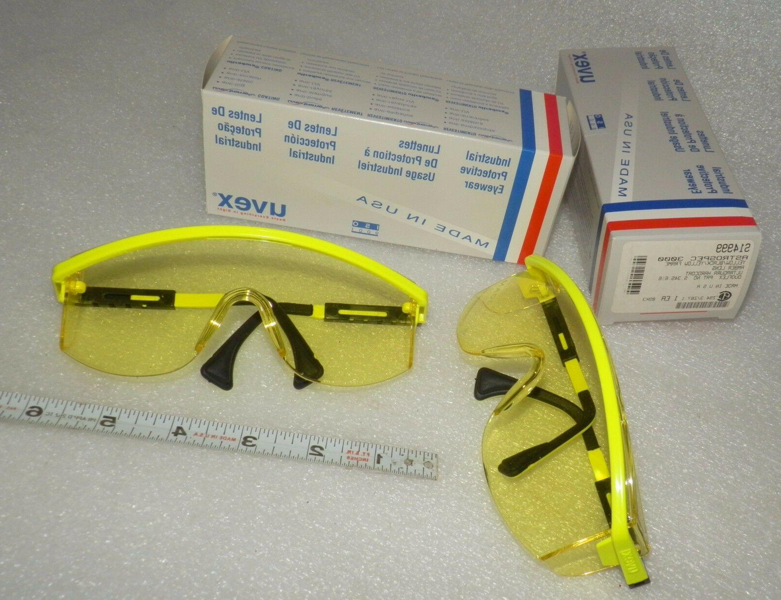 yellow safety Glasses Lens hard coat  pairs  new  UVEX S1499