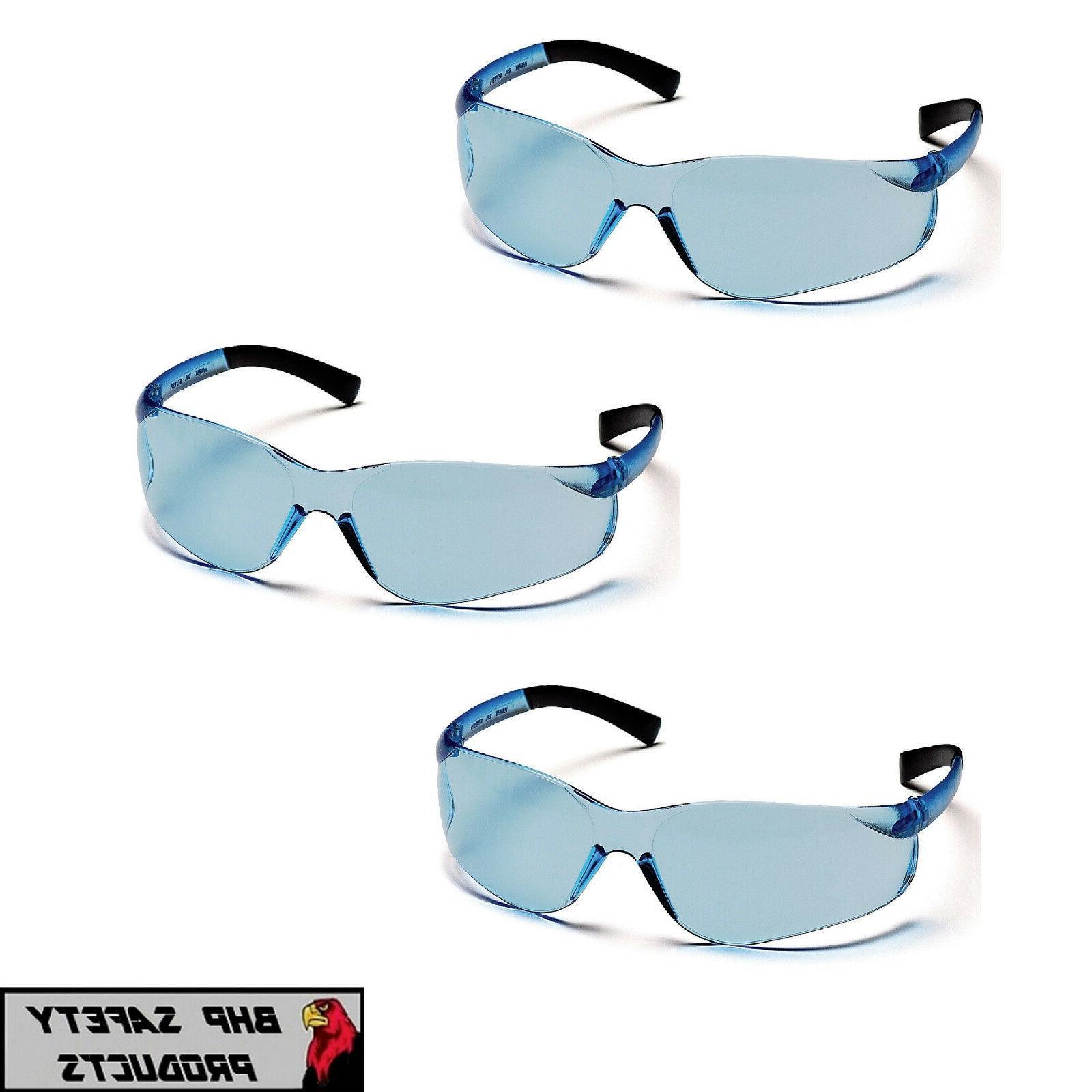 3 pr ztek safety glasses infinity blue