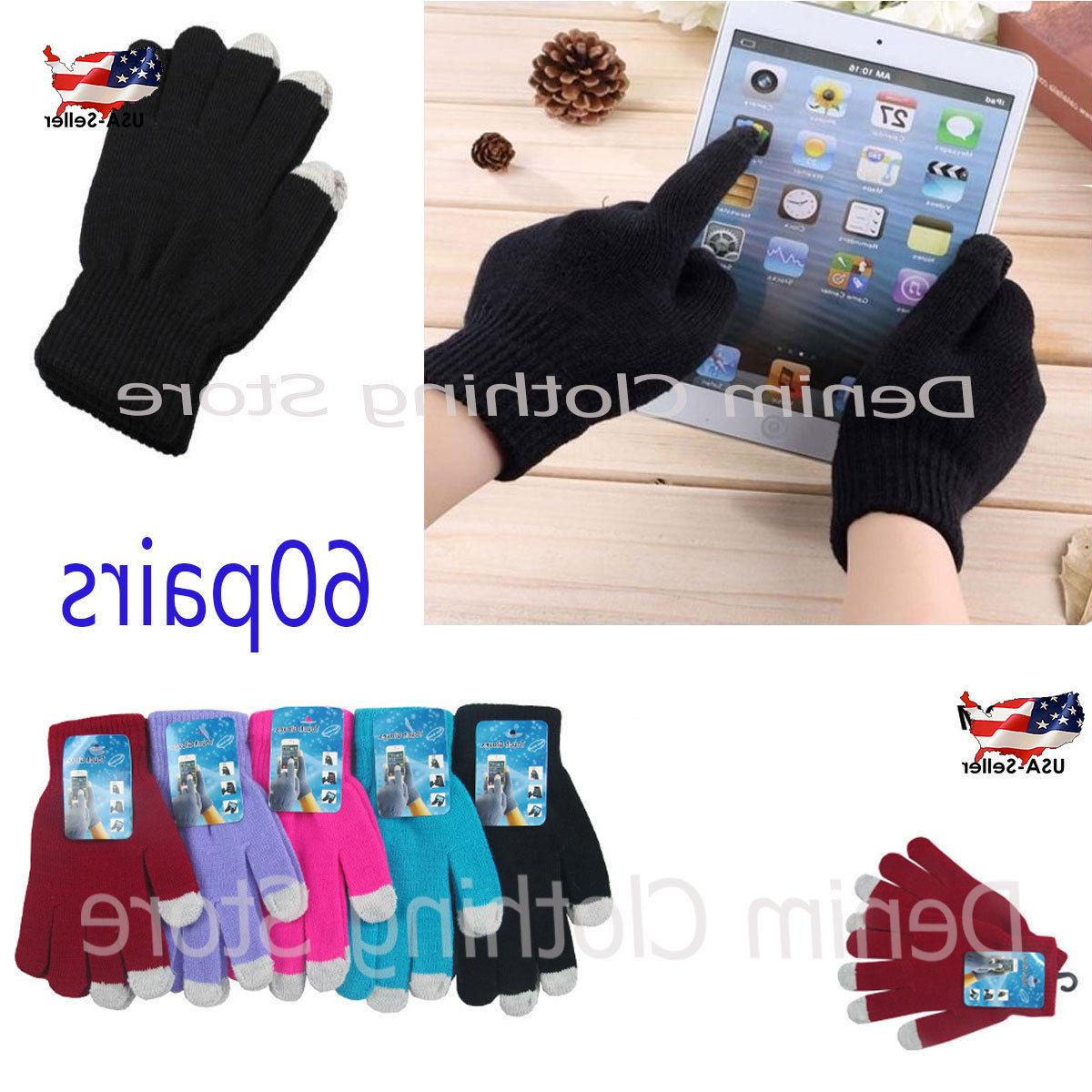60pairs Women Magic Winter Gloves Screen Smart Wholesale