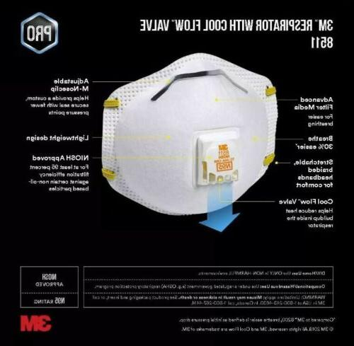 3M 8511 Particulate Respirator Flow Valve 10 Pack New