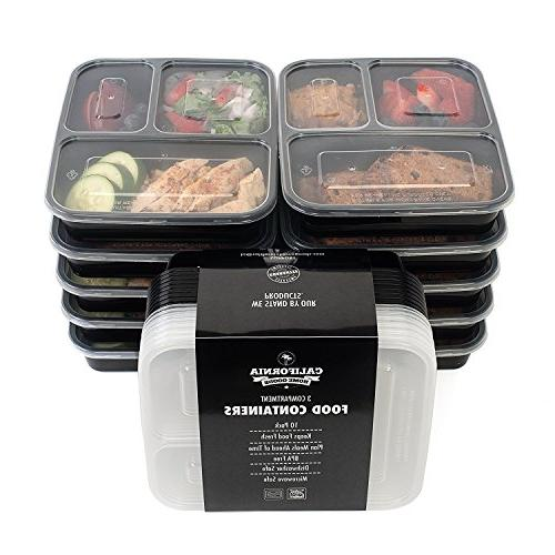 California Home Goods 3 Compartment Reusable Food Storage Co