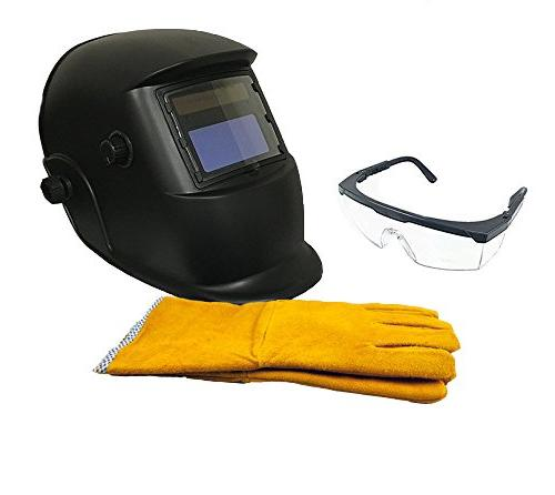 "Instapark ADF GX-350S-KIT Solar Darkening Welding Helmet Black 14"" Split Leather Welding Gloves Safety Goggles with Frame Clear"