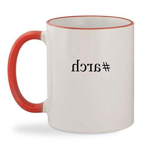 #arch - 11oz Hashtag Colored Rim & Handle Sturdy Ceramic Cof