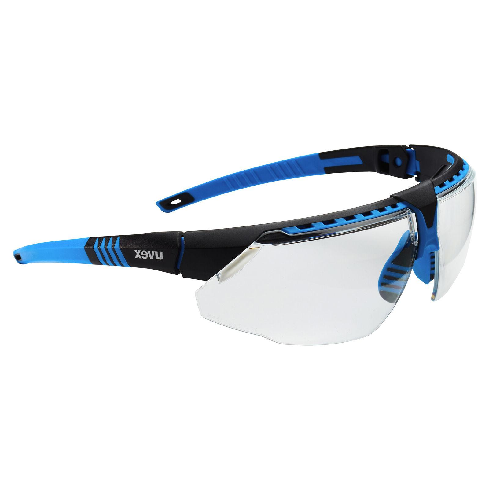 Uvex Avatar Safety Glasses with Clear Lens, Blue Frame