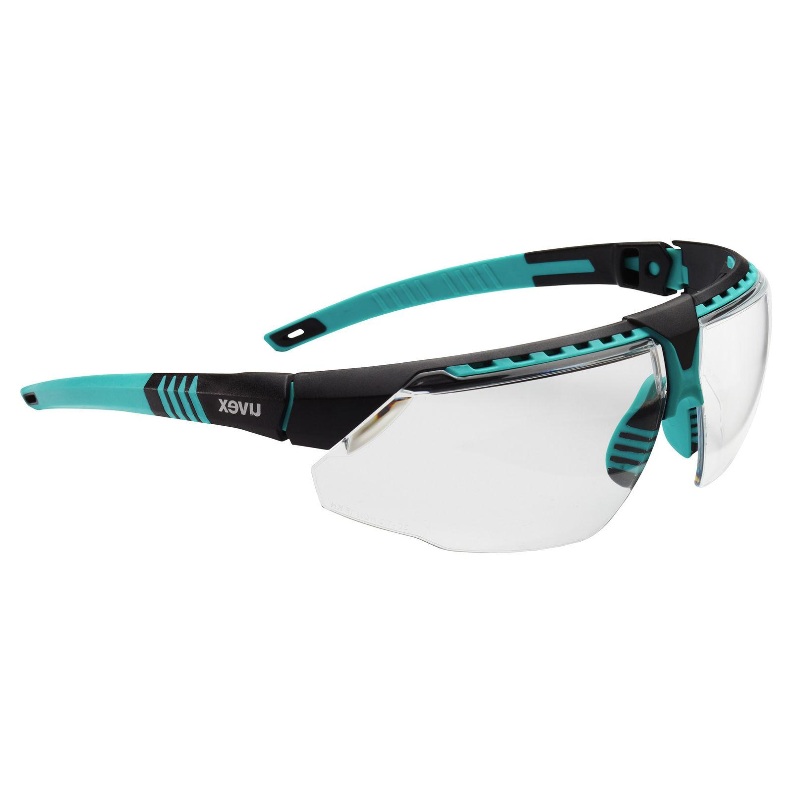 Uvex Avatar Safety Glasses with Clear Lens, Teal Frame