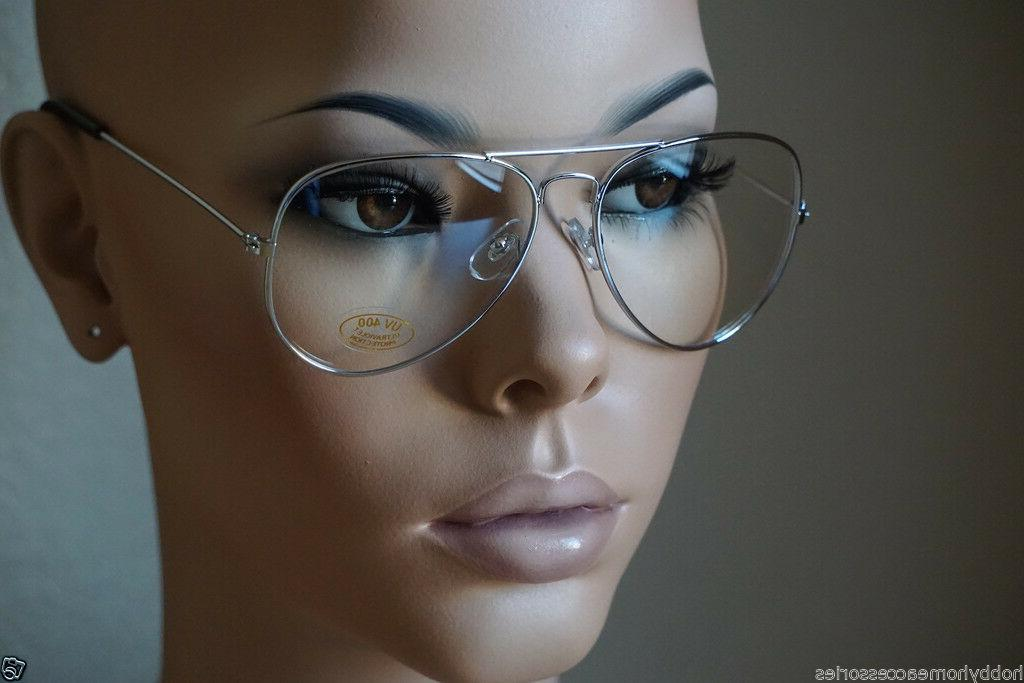 Aviator Glasses Hipster Vintage Style Retro Metal Clear ALL