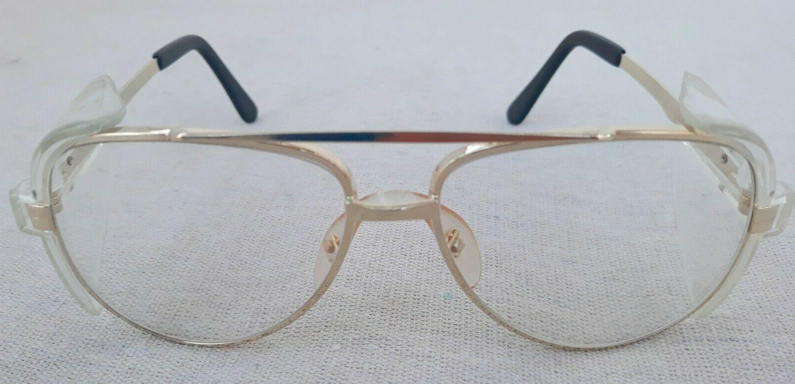 aviator safety glasses gold tint rims