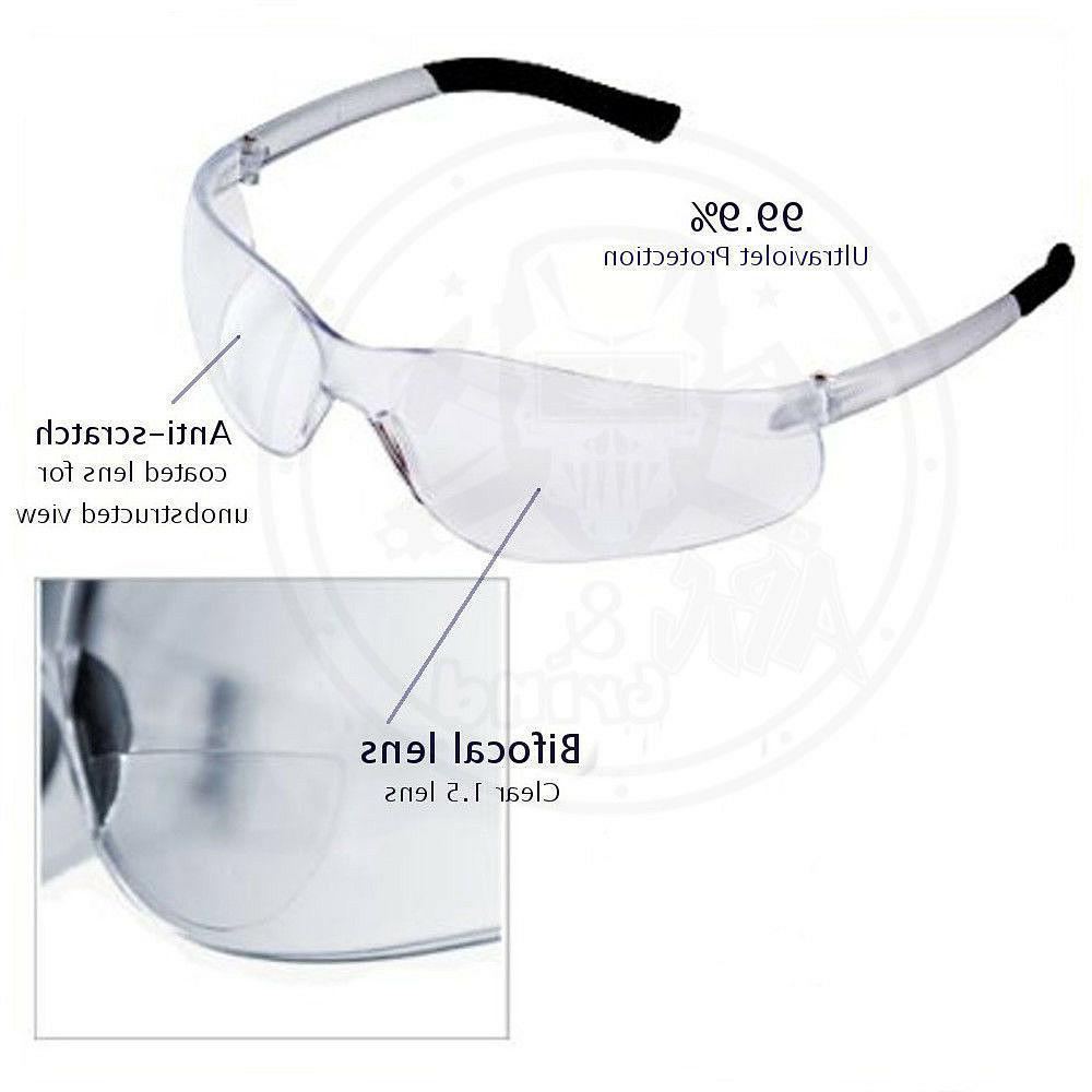 Bifocal Safety Glasses Clear 1.5 Diopter Reader Safety Glas