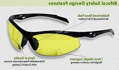bifocal safety glasses in polycarbonate yellow lens