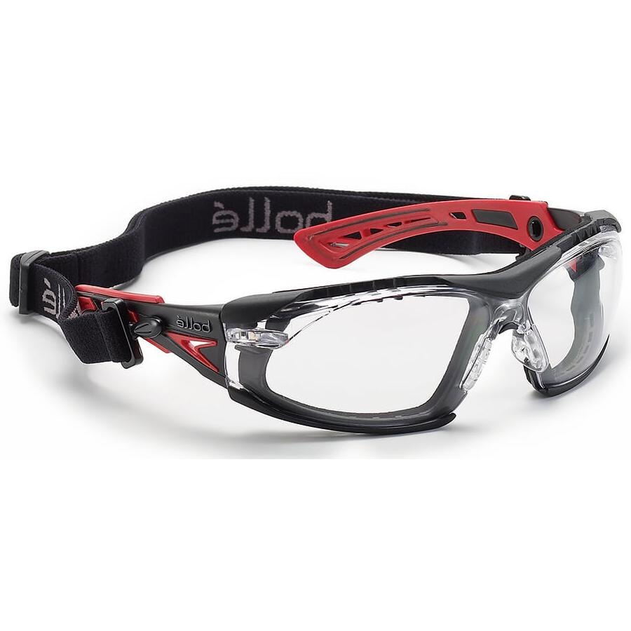 Bolle Rush Plus Safety Glasses Black/Red With Foam Clear Ant