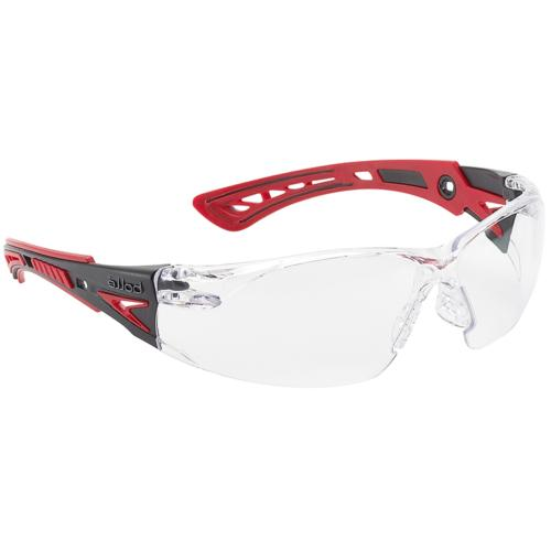 Bolle Rush Plus Safety Glasses Black/Red Temples Clear Anti-