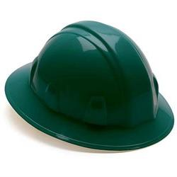 Pyramex Full Brim 6 Point Ratchet Hard Hat, Green, 12pk