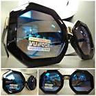 CLASSIC VINTAGE 70s RETRO Style SUN GLASSES Black Octagon Fr