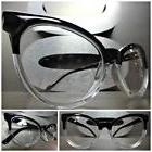 CLASSIC VINTAGE CAT EYE Style Clear Lens EYE GLASSES Black &