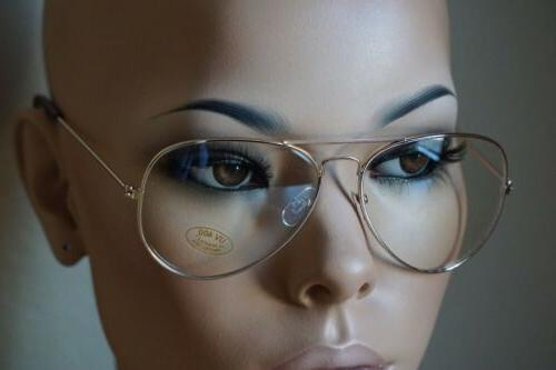 CLASSIC VINTAGE RETRO AVIATOR Clear Lens EYE GLASSES Gold Me