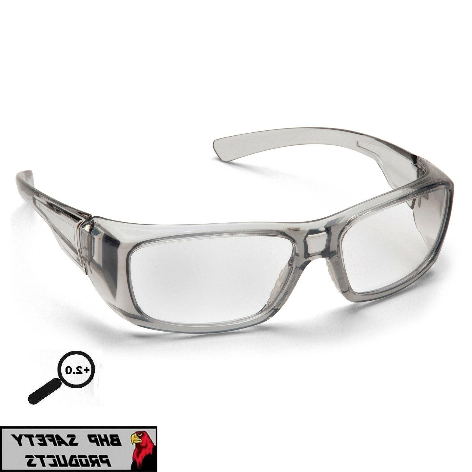 Pyramex Safety Glasses, Gray Frame, Cler +2.0 Lens, SG7910D2