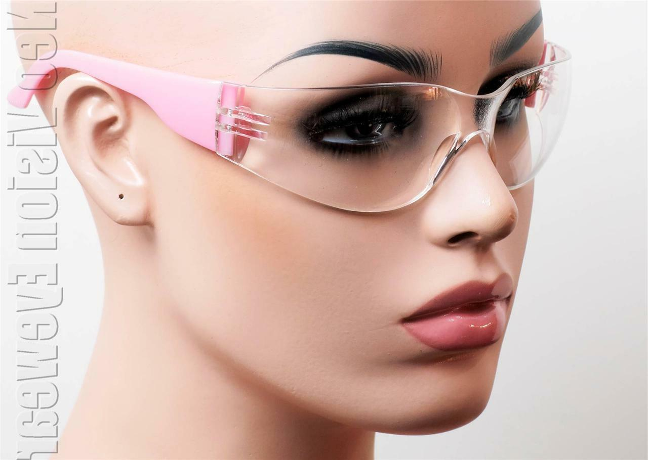 ERB Lucy Pink Clear Anti Fog Safety Glasses Motorcycle Women