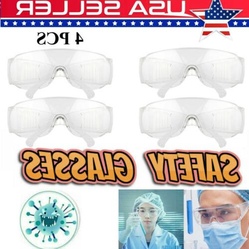 4 Pcs Eye Protection Protective Lab Clear Safety Goggles Gla