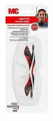 3M  Flat Temple Safety Eyewear, 47010-WV6, Black/Red Frame,