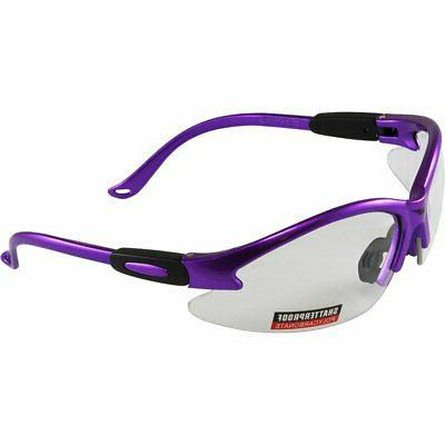 global vision cougar purple frame safety glasses