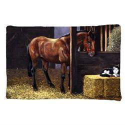 Horse In Stable with Cat Fabric Standard Pillowcase BDBA0295