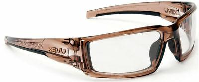 Uvex Hypershock Safety Glasses Smoke Brown Frame Clear Hydro