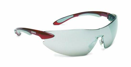 ignite red metallic frameless tinted safety glasses